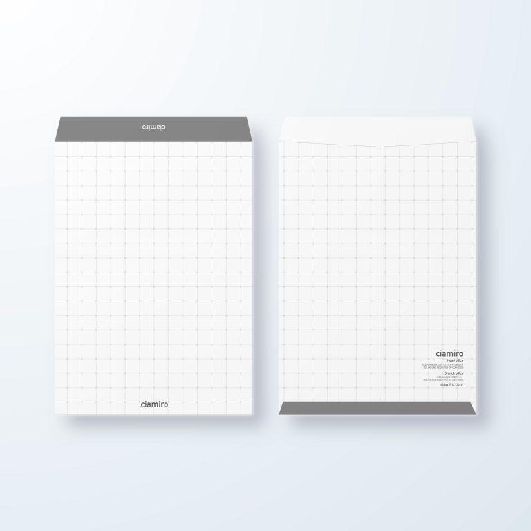 封筒デザイン【角2封筒】方眼紙風 重なり繋がりを表現