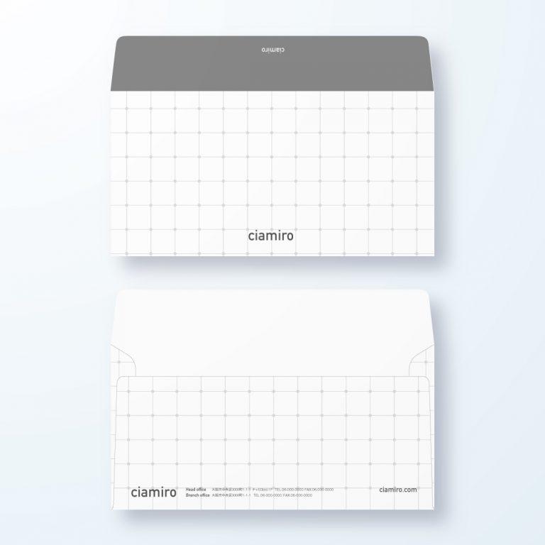 封筒デザイン【洋長3封筒】方眼紙風 重なり繋がりを表現