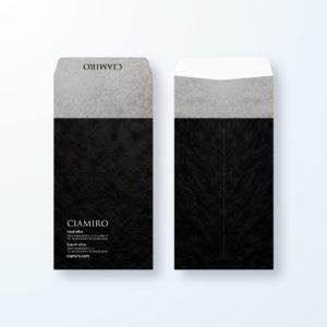 封筒デザイン【長3封筒】ツートンブラックのラグジュアリー封筒