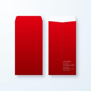 封筒デザイン【長3封筒】深い赤のインテリジェンスを感じる封筒
