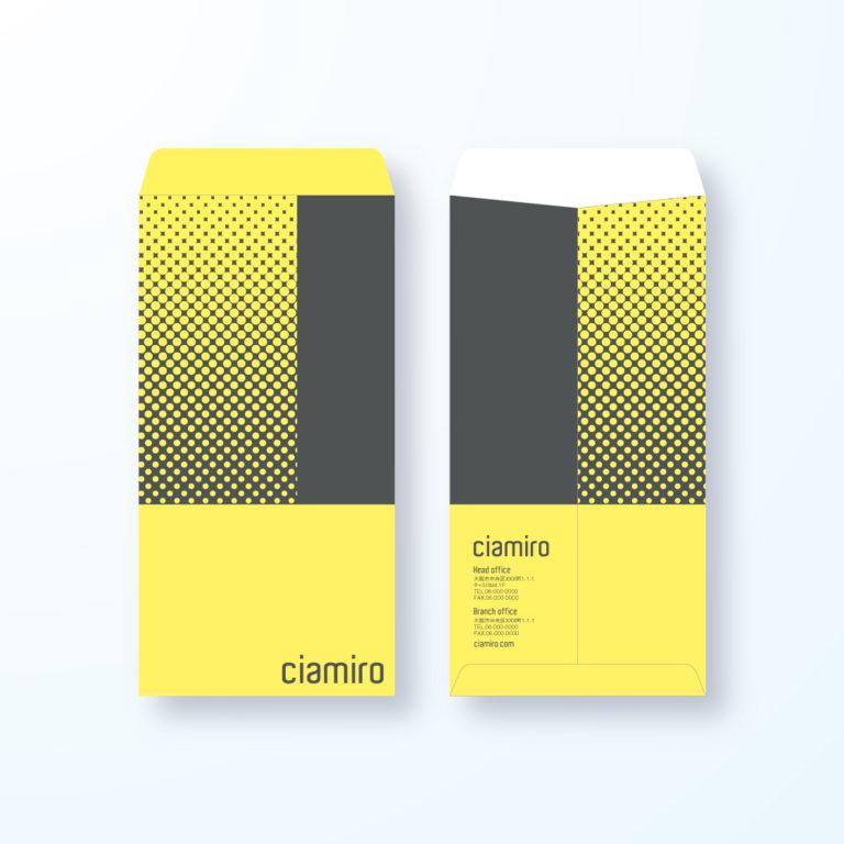 封筒デザイン【長3封筒】ドットで上向きを表現