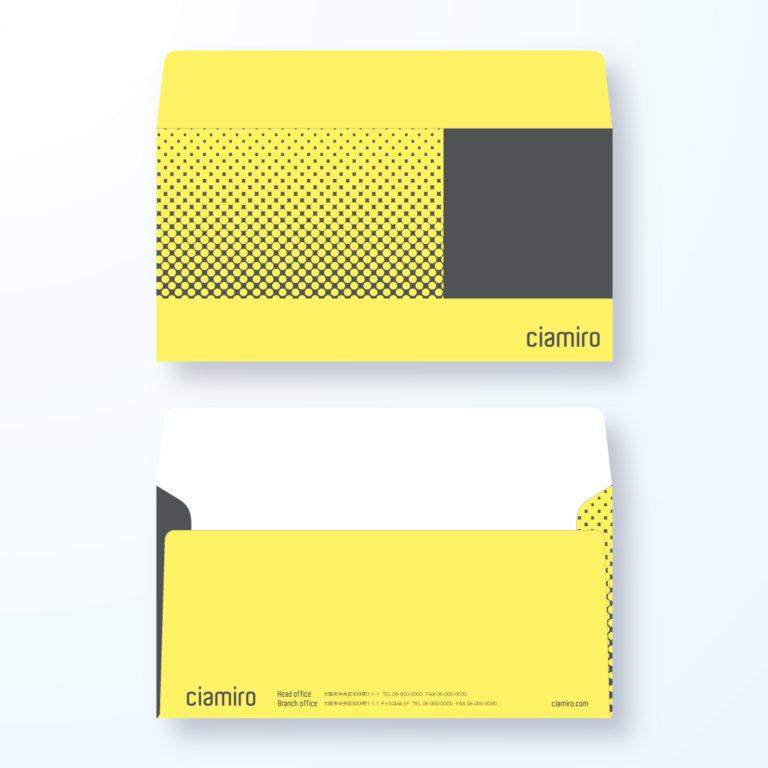 封筒デザイン【洋長3封筒】ドットで上向きを表現