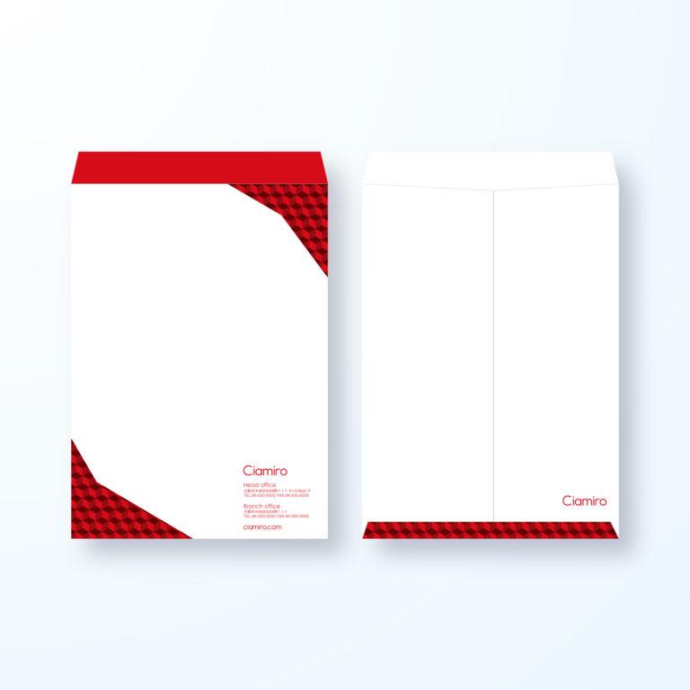 封筒デザイン【角2封筒】キューブなパターン