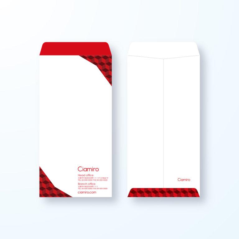 封筒デザイン【長3封筒】キューブなパターン