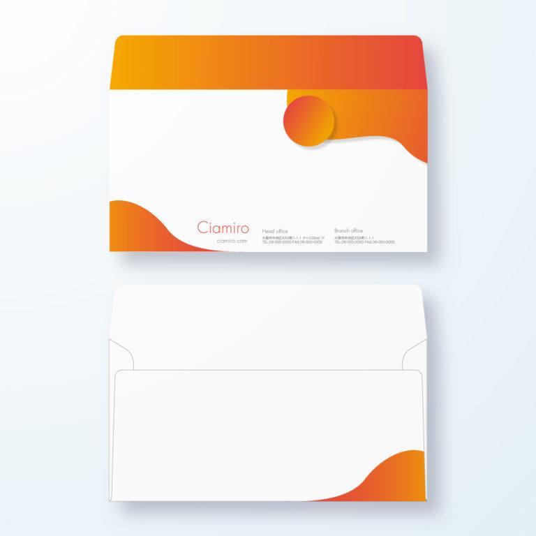 封筒デザイン【洋長3封筒】丸みがポップなポップアート