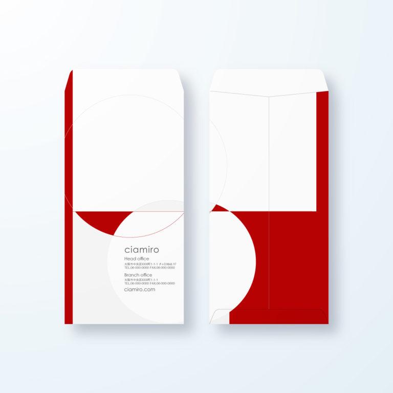 封筒デザイン【長3封筒】和モダン 境目の交わりデザイン