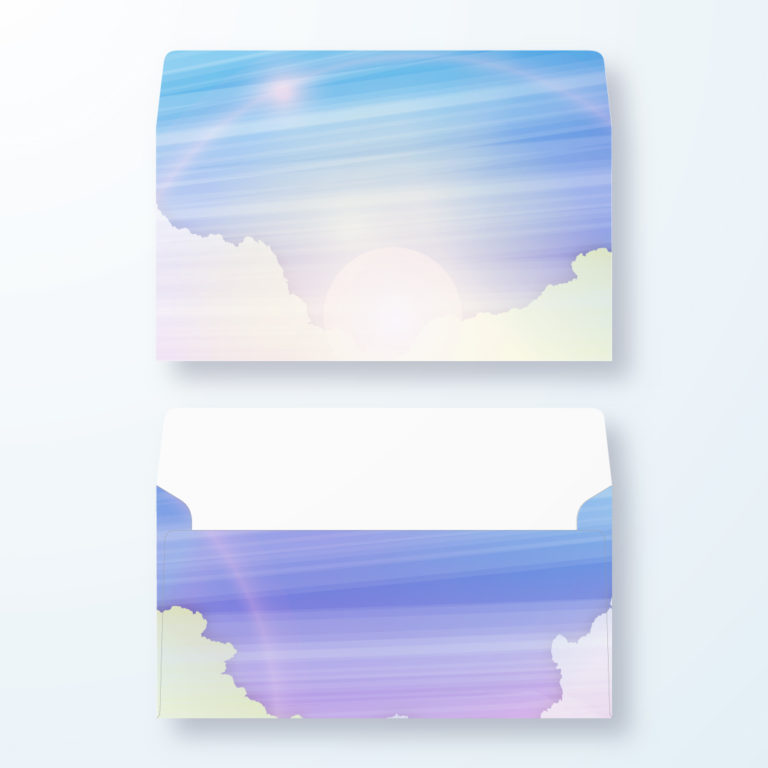 封筒デザイン【洋長3封筒】朝日のアートデザイン