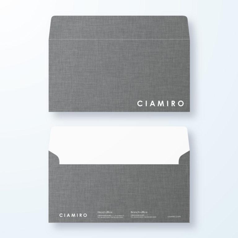 封筒デザイン【洋長3封筒】シックなキャンバス生地デザイン
