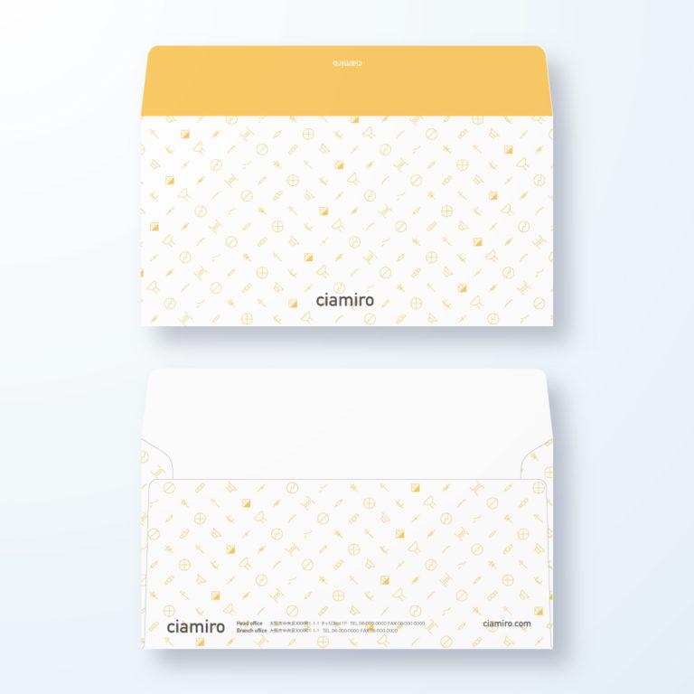 封筒デザイン【洋長3封筒】電気記号模様のエレクトリックデザイン