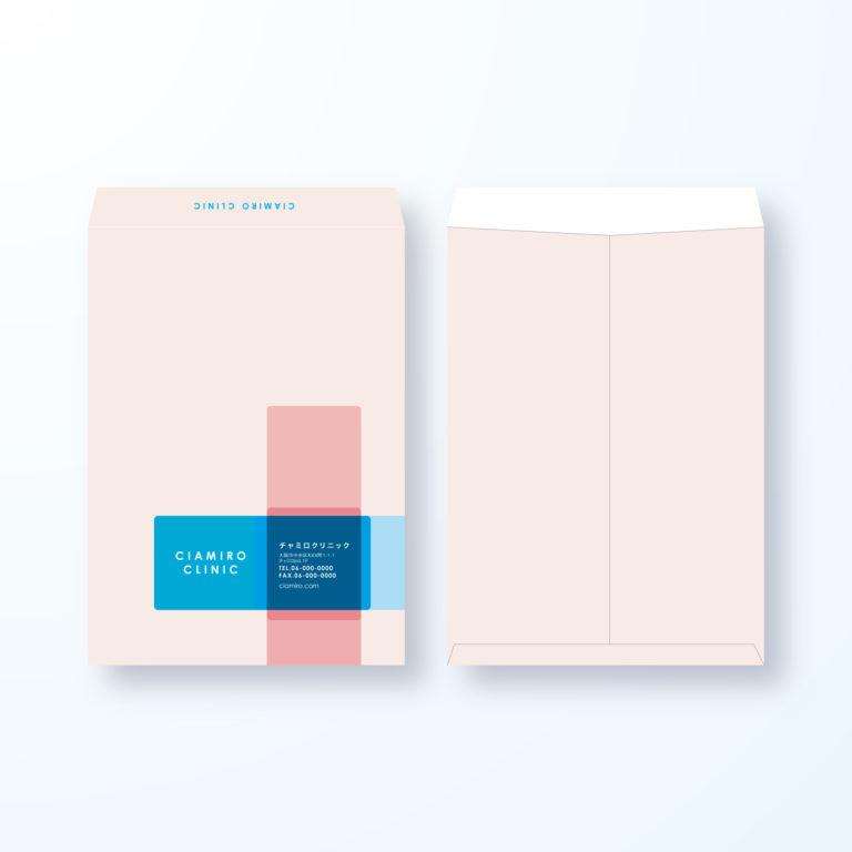 封筒デザイン【角2封筒】赤十字マークのおしゃれデザイン