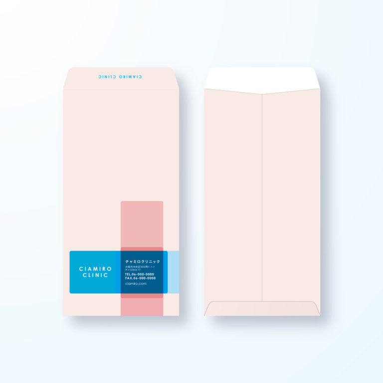 【長3封筒】赤十字マークのおしゃれデザイン