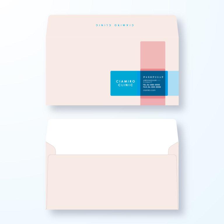 封筒デザイン【洋長3封筒】赤十字マークのおしゃれデザイン