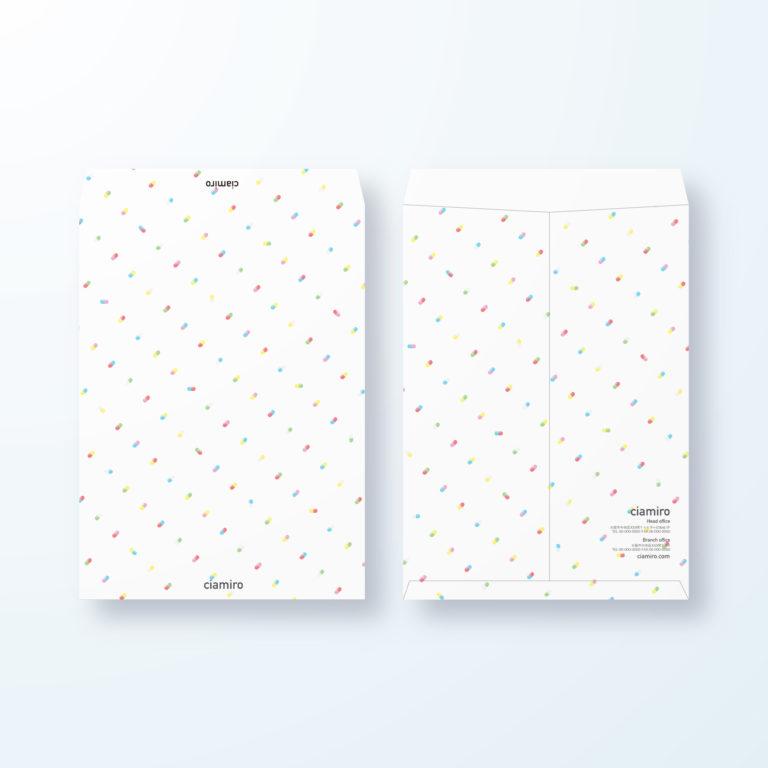 封筒デザイン【角2封筒】カプセル(お薬)のポップデザイン