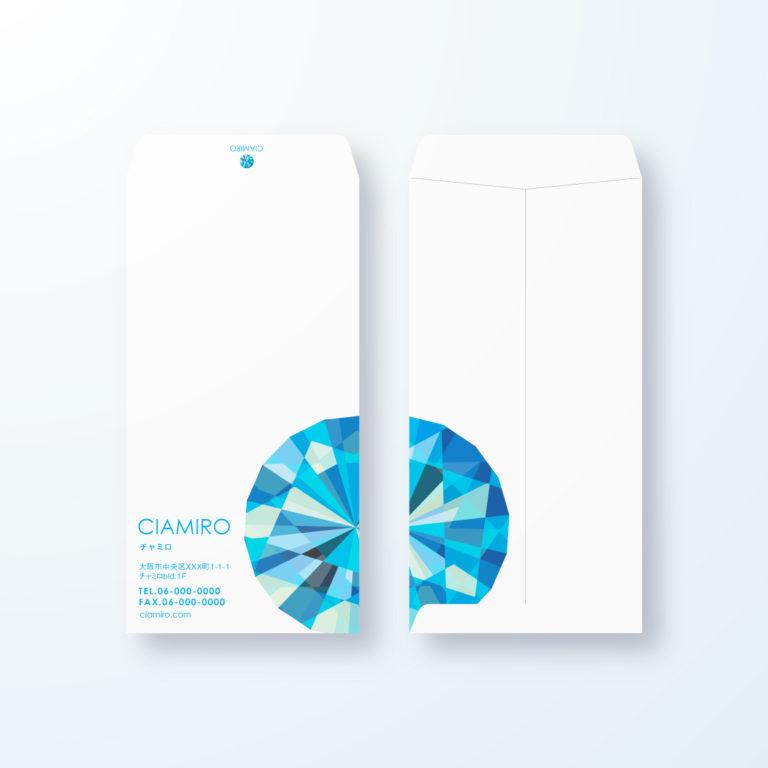 封筒デザイン【長3封筒】ダイヤモンドモチーフデザイン