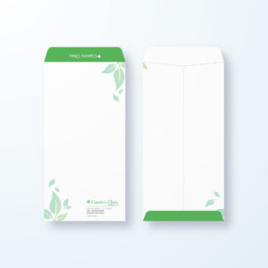 封筒デザイン【長3封筒】リーフがモチーフのデザイン封筒