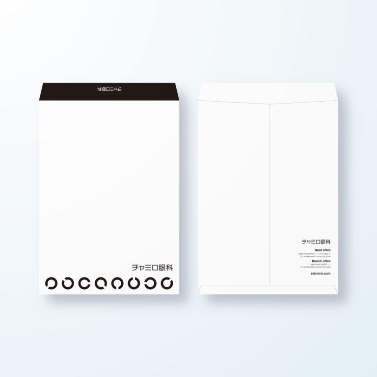 封筒デザイン【角2封筒】ランドルト環の眼科用デザイン封筒