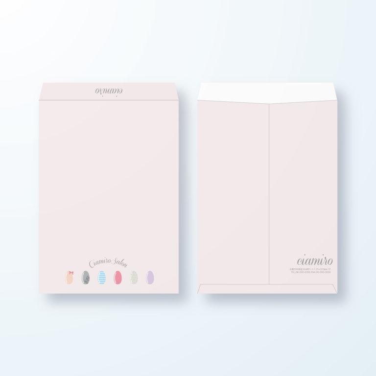 封筒デザイン【角2封筒】かわいい色々なネイルチップの封筒デザイン