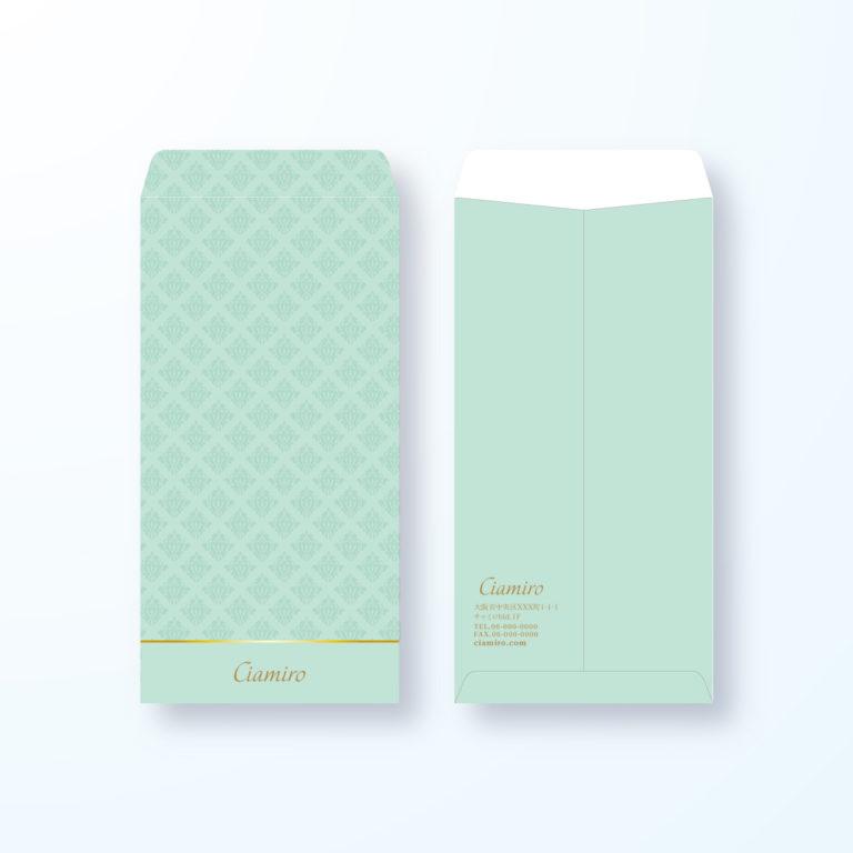 【長3封筒】ダマスク模様でエレガントな封筒デザイン