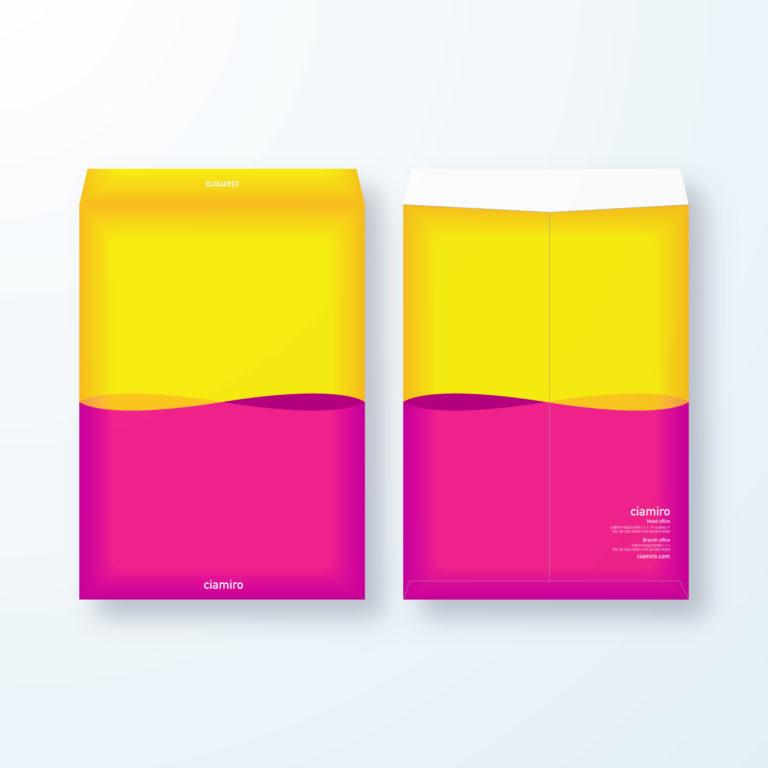 封筒デザイン【角2封筒】ビビットカラーで目立つ封筒デザイン