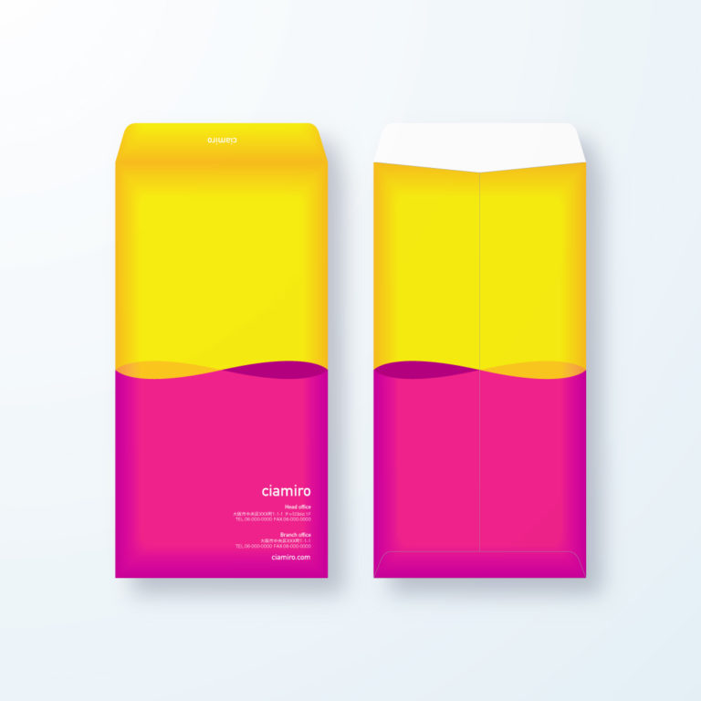 封筒デザイン【長3封筒】ビビットカラーで目立つ封筒デザイン