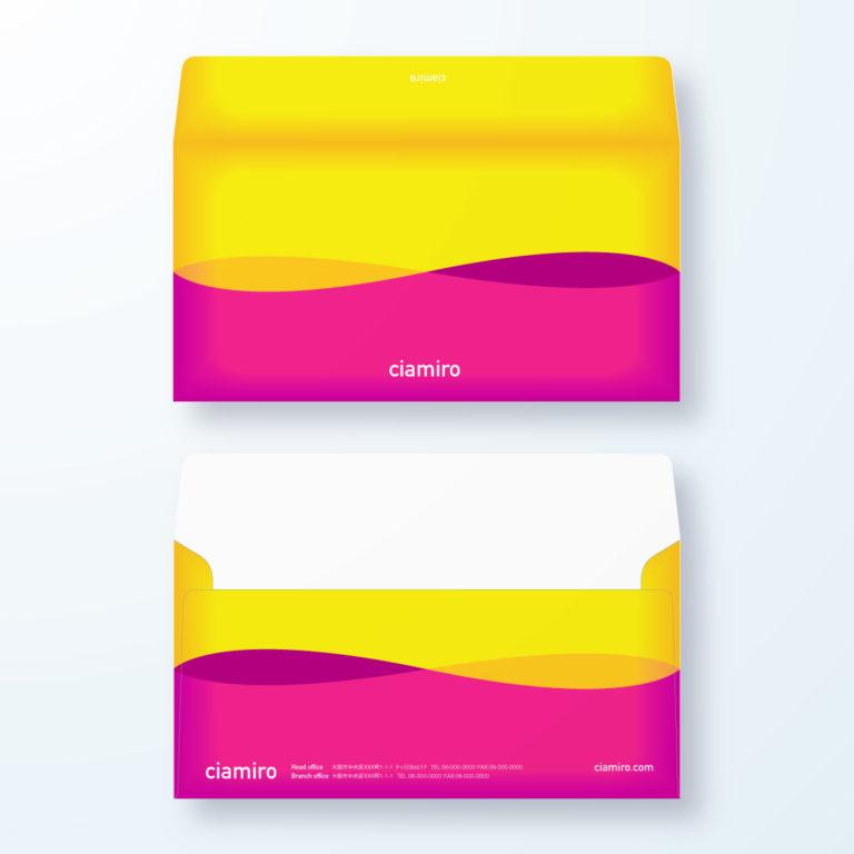 封筒デザイン【洋長3封筒】ビビットカラーで目立つ封筒デザイン