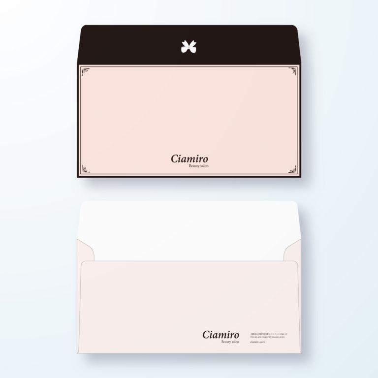 封筒デザイン【洋長3封筒】ピンク×ブラックのキュートな封筒デザイン