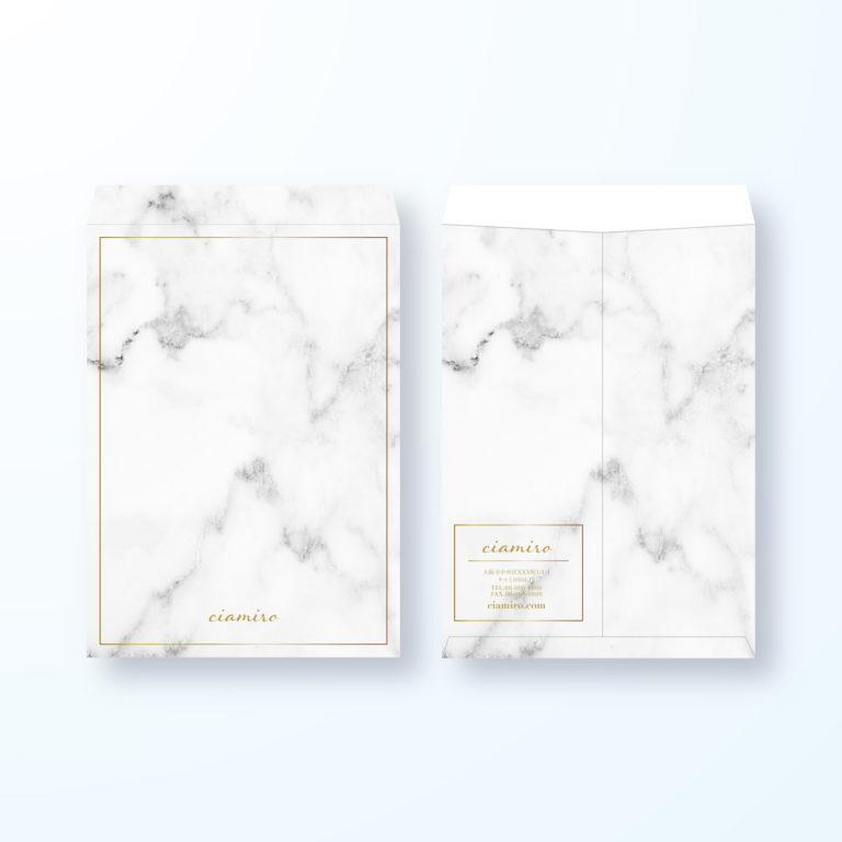 封筒デザイン【角2封筒】大理石風の封筒デザイン