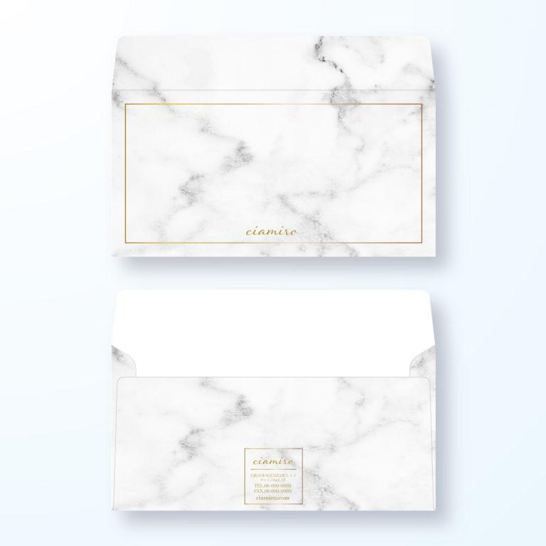 封筒デザイン【洋長3封筒】大理石風の封筒デザイン