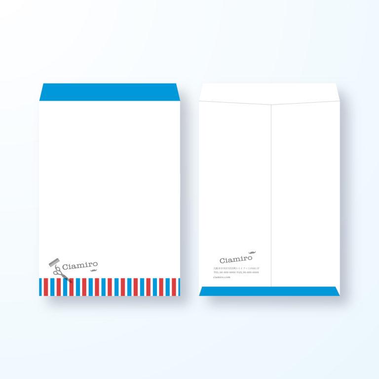 封筒デザイン【角2封筒】スッキリおしゃれBarberの封筒デザイン