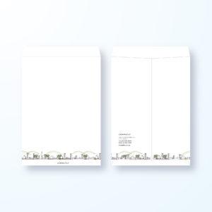 封筒デザイン【角2封筒】街の風景画の封筒デザイン