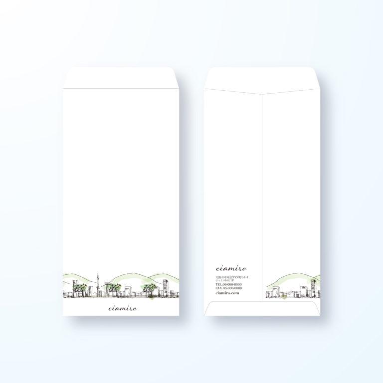 封筒デザイン【長3封筒】街の風景画の封筒デザイン