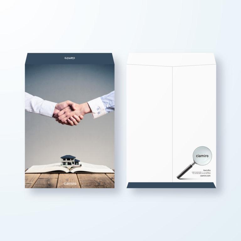 封筒デザイン【角2封筒】握手をしているビジネスシーンの封筒デザイン