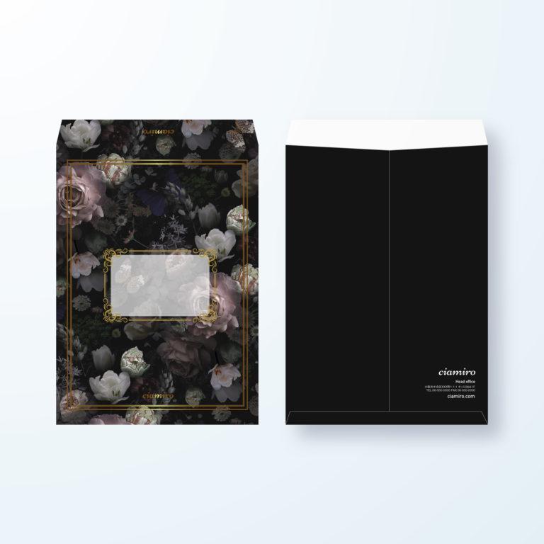 封筒デザイン【角2封筒】バラの花×ブラックデザイン封筒