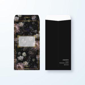 封筒デザイン【長3封筒】バラの花×ブラックデザイン封筒